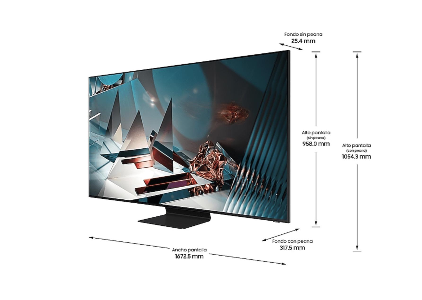 """Dimensiones de la TV Samsung QE75Q800T 75"""" QLED 8K UHD"""